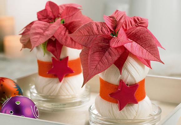 Centros de mesa con flor de pascua o poinsettia decoraci n - Centros de mesa navidenos caseros ...