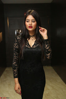 Actress Monica in spicy transparent Black Top at O Pilla Nee Valla Movie Audio Launch Feb 2017 029.JPG