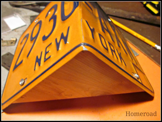 License plate roof for a DIY birdhouse.