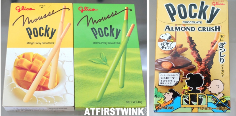 Glico mousse pocky mango matcha green tea biscuit stick almond crush snoopy limited edition