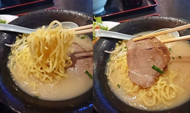 豚骨ラーメンの麺とトッピングの写真