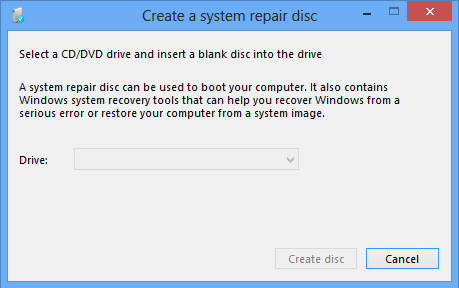 Create a System Repair Disc in Windows