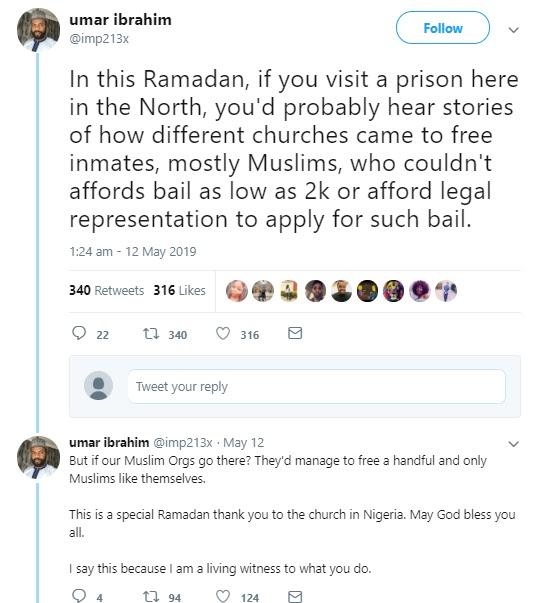 Muslim man Praises Christians who goes to prison to bail Muslim inmates