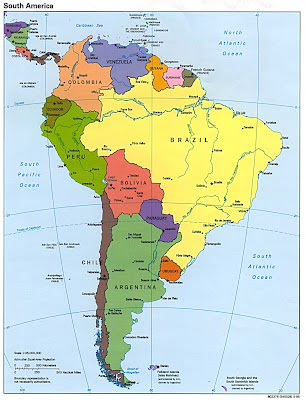 Atlas political map of South America
