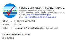 Edaran Data Isian Akreditasi (DIA) untuk Sekolah Menengah Kejuruan (SMK) Revisi 2018
