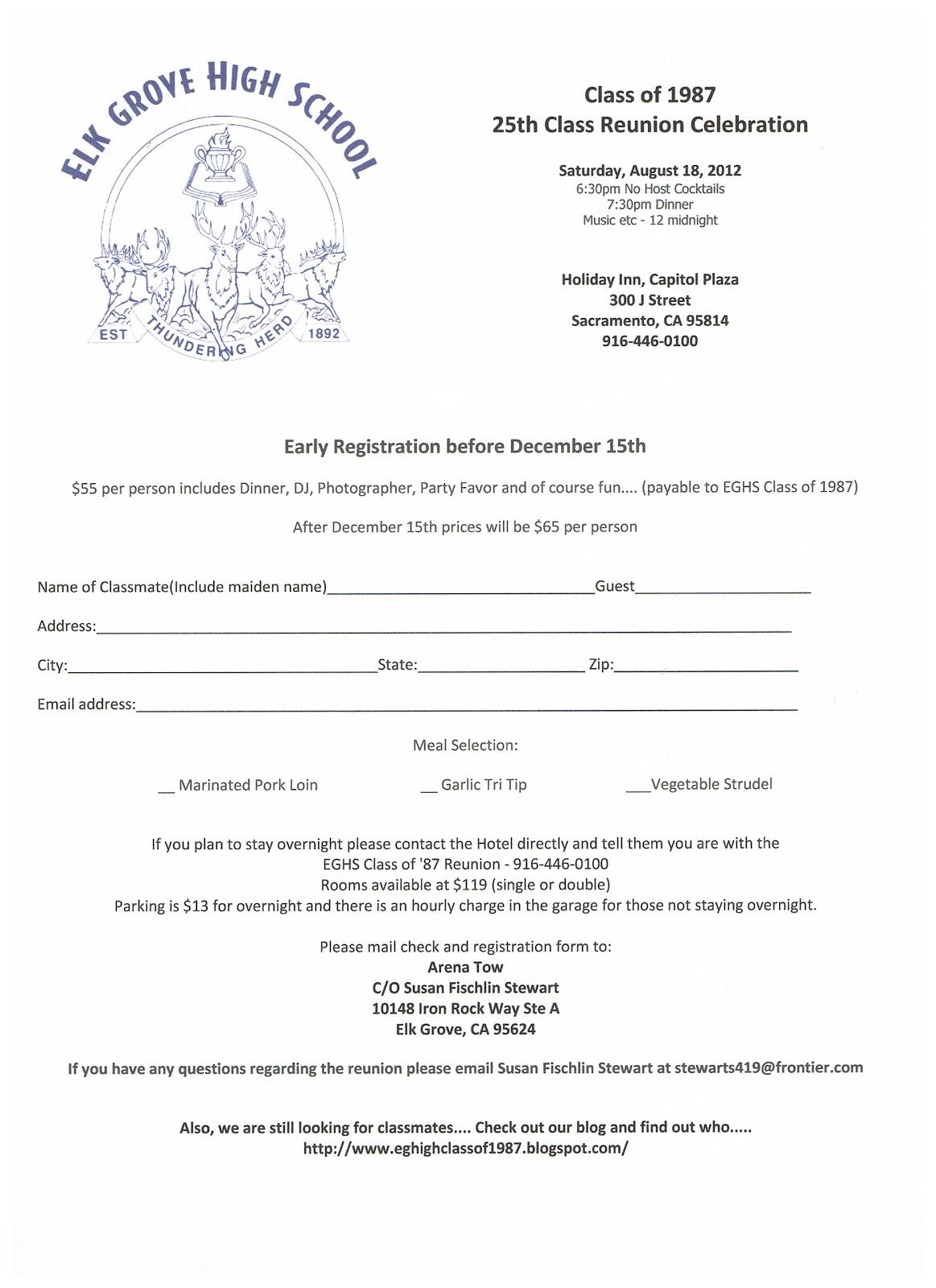 Eg high class of 1987 25th class reunion registration form for High school registration form template