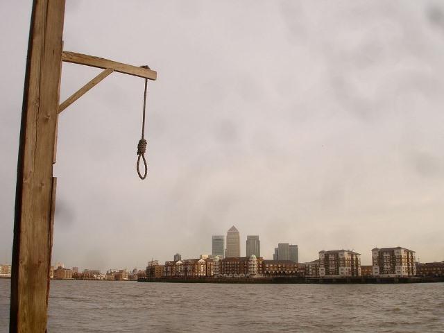 El muelle de la ejecución en Londres