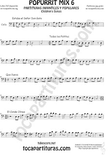 Mix 6 Partitura de Violonchelo Estaba el Señor Don Gato, Todos los Patitos, Qué llueva Infantil, El Conde Olinos Mix 6 Sheet Music for Cello Music Scores