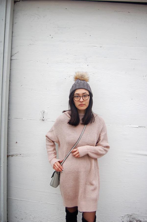 Dusty Pink Sweater Dress Pom Beanie
