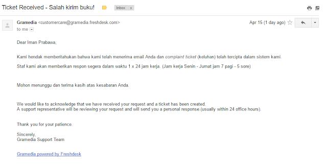 E-mail Komplain Ke Gramedia