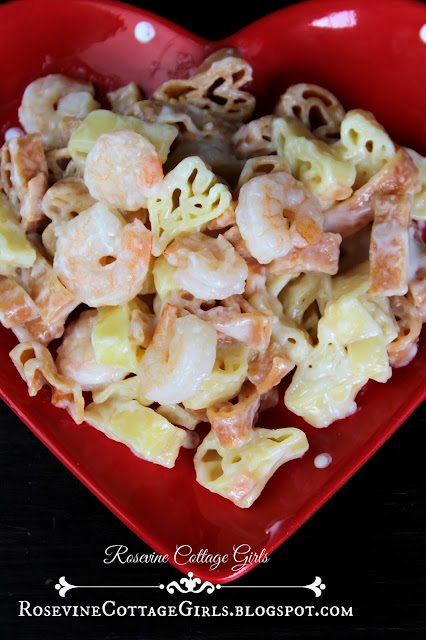 picture of heart shaped pasta and shrimp rosevine cottage girls