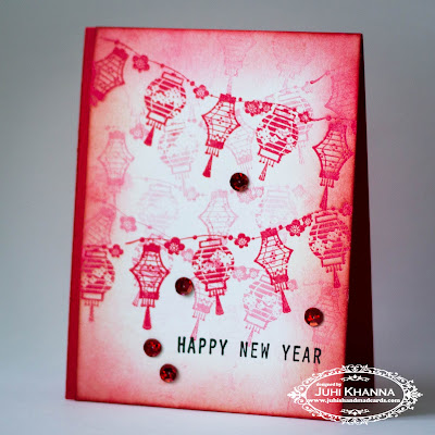 Monochromatic Red Handmade Chinese Lunar New Card with Inkadinkadoo stamps
