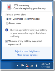 Warn me if my battery may need repleacement