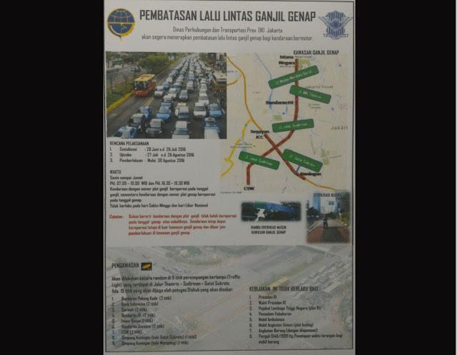 Dinas Perhubungan DKI Jakarta akan memberlakukan sistim kendaraan ganjil-genap