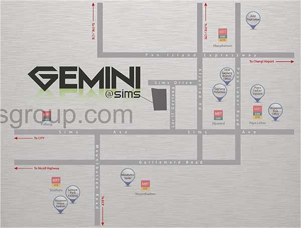 Gemini @ Sims Location Map