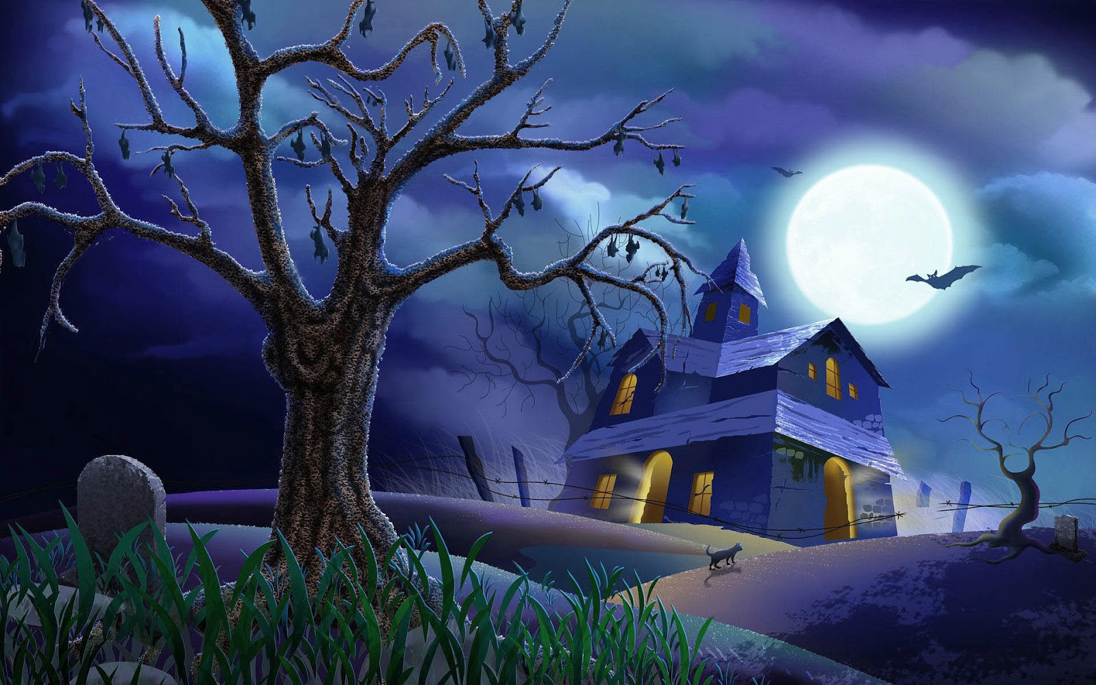 Exceptional Full Moon Halloween Night Wallpapers