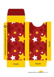 Estrellas rojas y amarillas de navidad