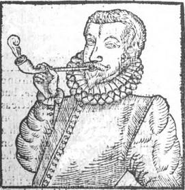 a primeira imagem conhecida de um homem fumando um cachimbo com tabaco (1595)