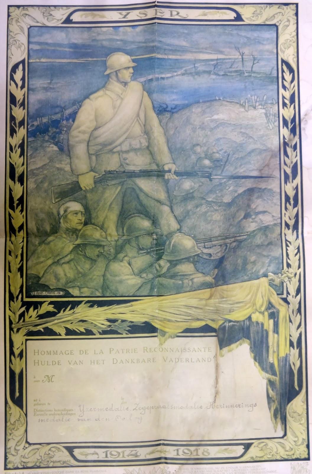Brevet waarop de IJzermedaille, Zegepraal-en Herinneringsmedaille van de Oorlog 1914-1918 op vermeld staan. Legerarchief Evere.