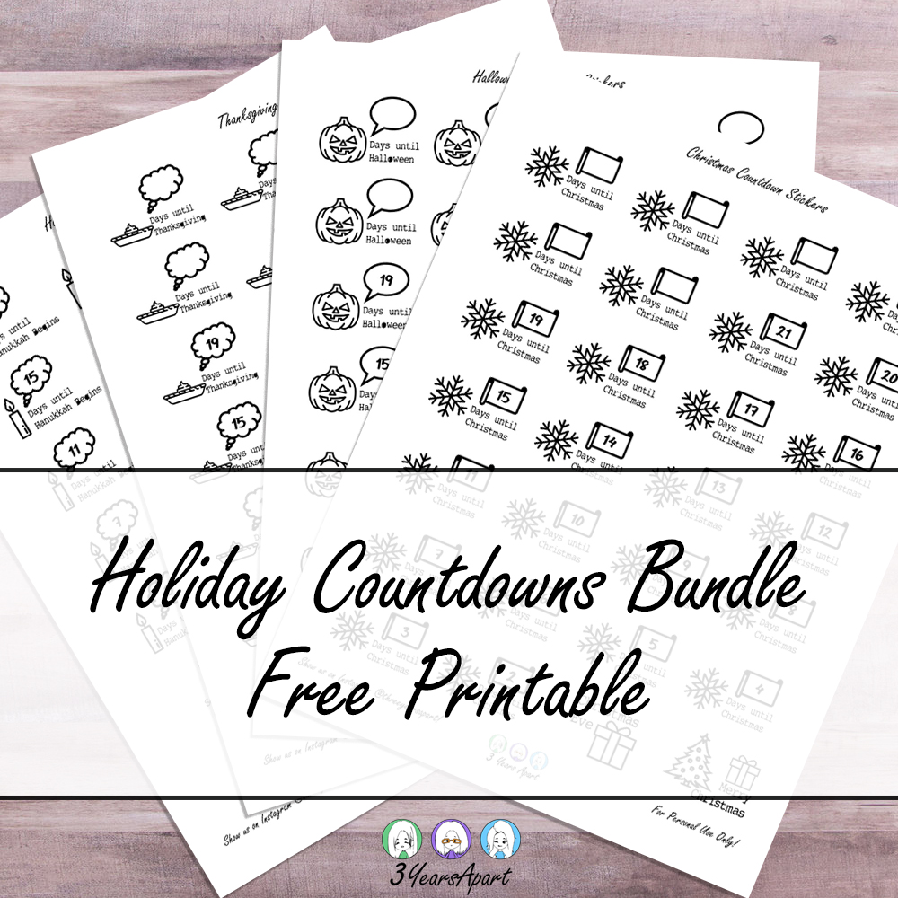 Holiday Countdowns Bundle - Free Printable Planner and ...