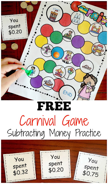 FREE Carnival Subtracting Money Game - this free printable money games is a great way for 2nd grade and 3rd grade students to practice subtracting money while having fun. This educational game is perfect for homeschool, after school, summer learning, math centers, and extra practice.
