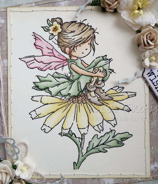 Handmade card with Spring fairy (image from LOTV)