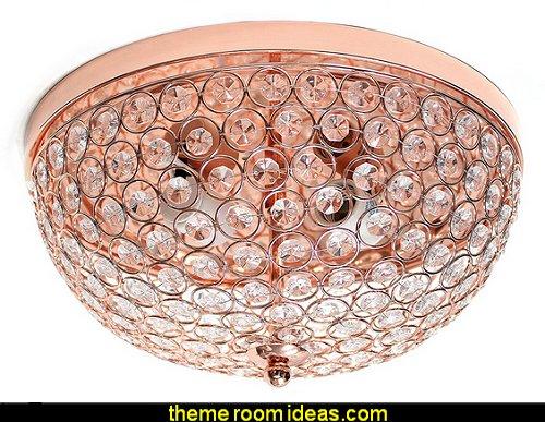 Crystal Flush Mount Ceiling Light, Rose Gold