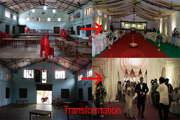 transforming converting changing remodelling decorating a shabby dirty ugly not clean auditorium hall venue,