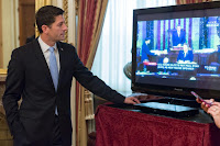 Speaker Paul Ryan watches his swearing in on CSPAN