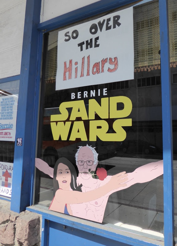 Bernie Sand Wars window Star Wars homage