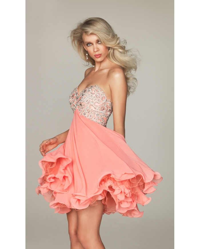 Wedding dress production: Coral Short Junior Prom Dress by