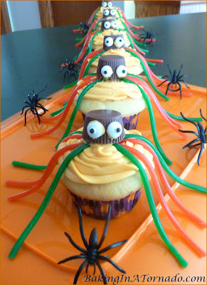 Daddy Long Legs Halloween Cupcakes, a fun Halloween treat. Vanilla cupcakes with vanilla frosting decorated with candy for that spider look. | Recipe developed by www.BakingInATornado.com | #recipe #Halloween