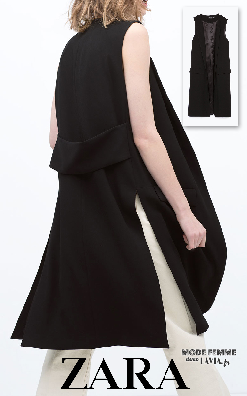 Veste tailleur longue femme sans manche