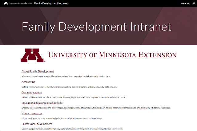 Screen shot of the Family Development intranet home page.