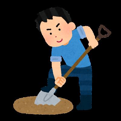 埋蔵金を探す人のイラスト(男性)