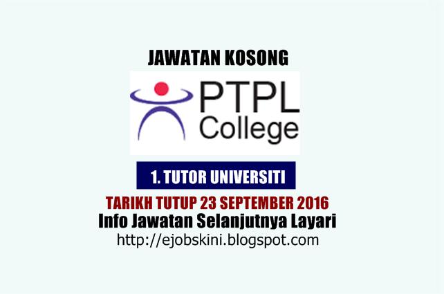 Jawatan Kosong Pusat Teknologi dan Pengurusan Lanjutan (PTPL)