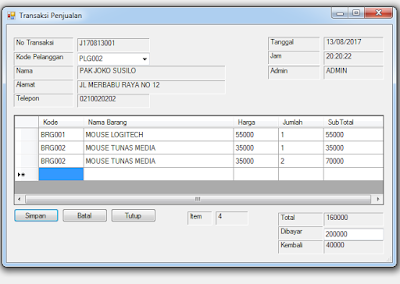 Download Source Code Aplikasi Penjualan VB .NET - Database Access