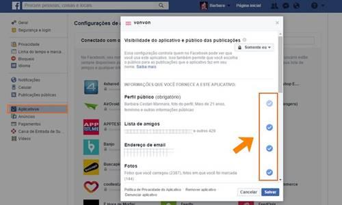 Você pode editar permissões nos aplicativos salvos no Facebook
