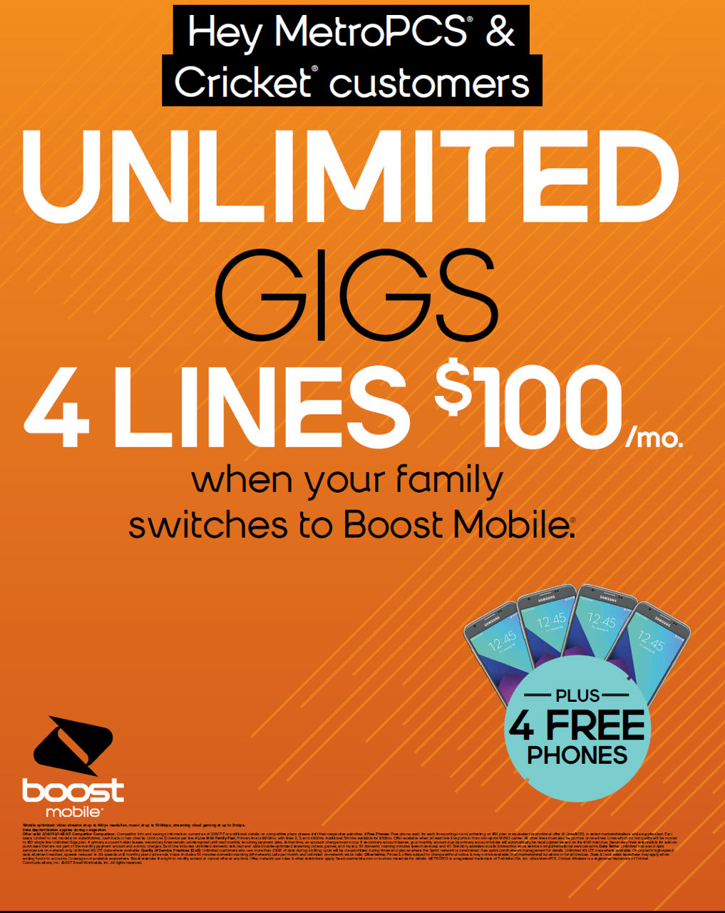 Boost Mobile Deals. While you can physically walk into a Boost Mobile store to check out phones and plans, the company provides instant savings online with free shipping, limited time promotions, and exclusive 'Online Deals' offered only through their website. Boost Mobile Review.