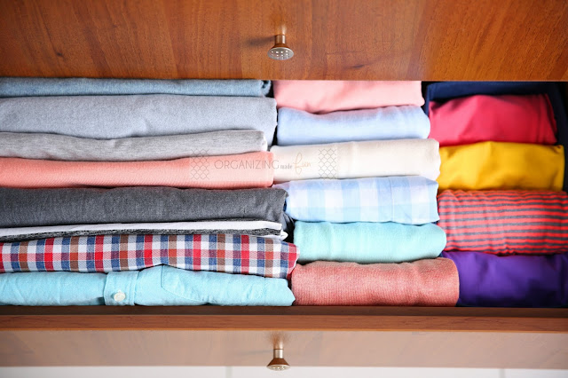 How to Properly Fold a T-Shirt, filed neatly in a drawer :: OrganzingMadeFun.com