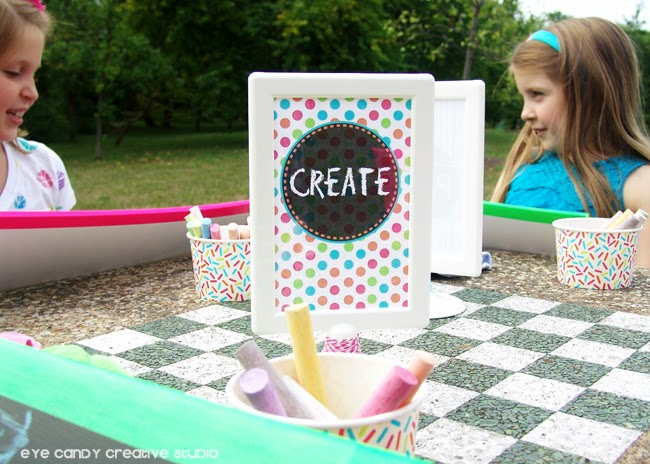 create party collection, art party picnic, using chalkboards at art party