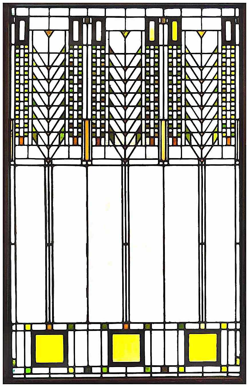 a Frank Lloyd Wright stained glass window, color photograph