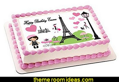Paris Edible Cake Topper  Paris party decorations - Party in Paris Birthday Party Decorations  -  Pink Paris Party -  paris party balloons - Paris themed party supplies - Pink Poodle in Paris theme - French-themed celebration  -  Eiffel Tower Favor Boxes  - Pink Poodle Paris Theme Birthday Party