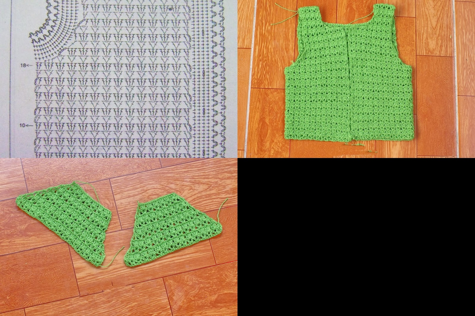 Tığ işi Yeşil Yelek Modeli Şemalı