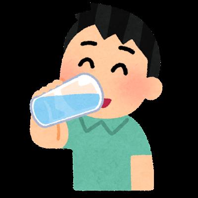 水分補給をする人のイラスト(男性・グラス)