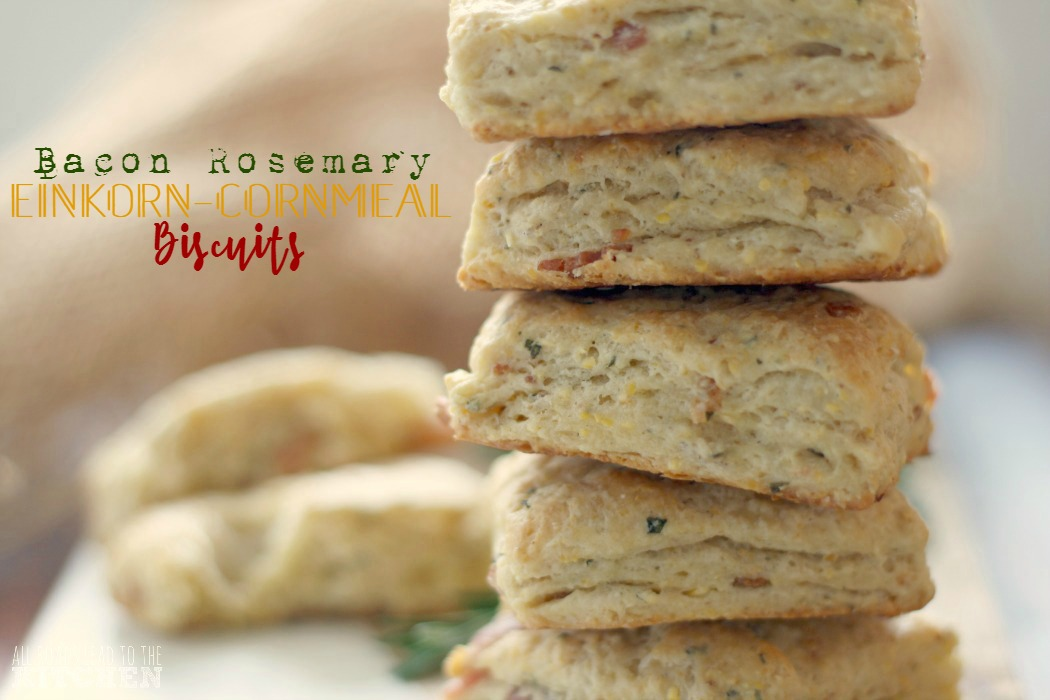 Bacon Rosemary Einkorn-Cornmeal Biscuits | #EinkornExperiment