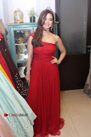 Actress Sana Khan Latest Pos in Georgius Spicy Red Long Dress at the Interview  0020.jpg