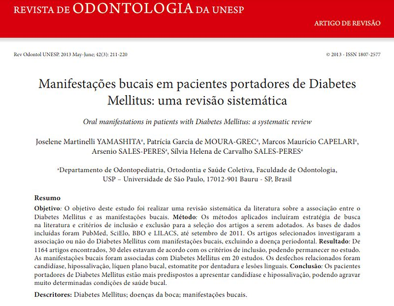 artigos sobre diabetes e odontologia