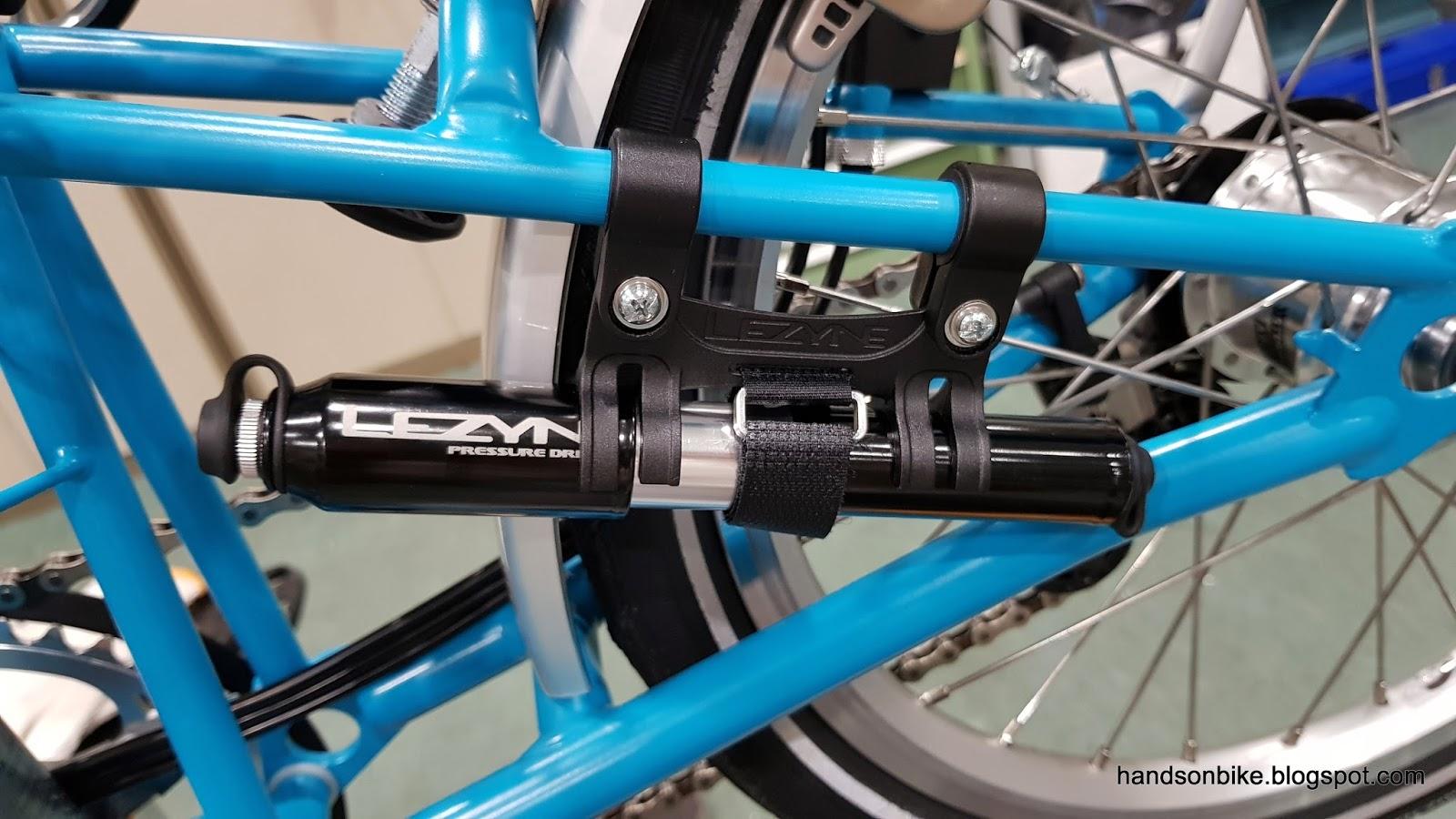 Hands On Bike: Brompton M6R: DIY Lezyne Pump Mount and Tool Bag
