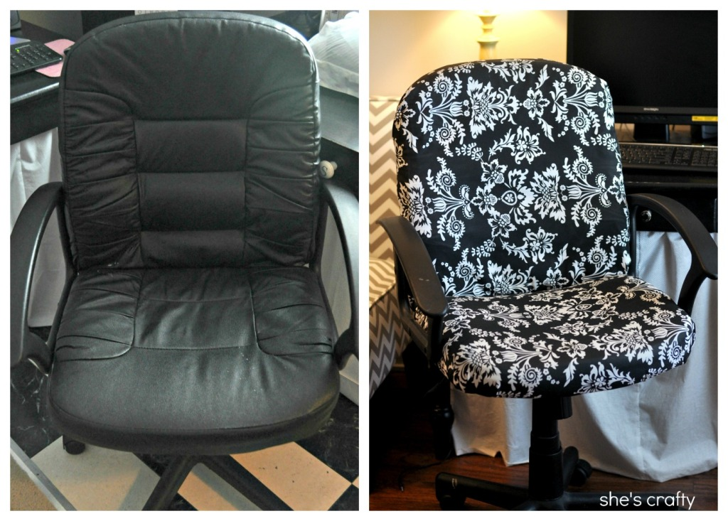 Office Chair Covers To Buy Wood Lounge Plans She S Crafty How Recover A Boring Recovered Before And After